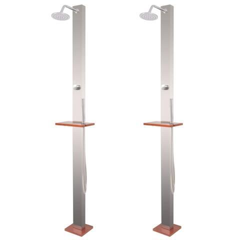 """vidaXL Garden Shower 2 pcs Stainless Steel 82.7"""""""