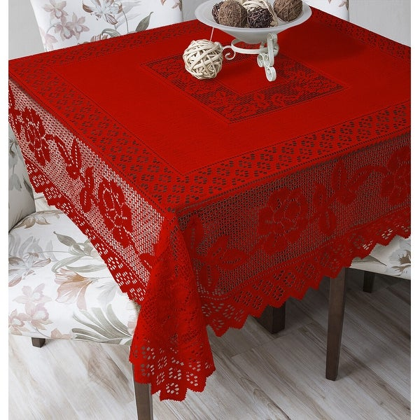 Tablecloth Grega Design Brazilian Lace 59x59 Inches Red Color 100 Percent Polyester