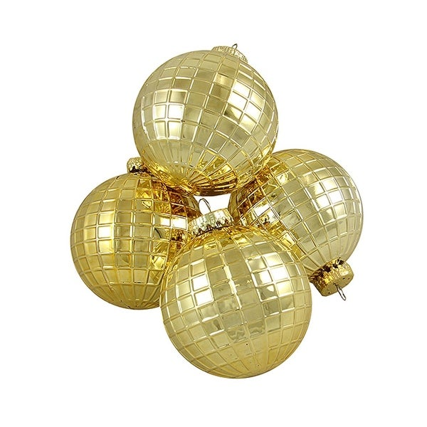 "4ct Shiny Gold Disco Ball Shatterproof Christmas Ball Ornaments 2.75"" (70mm)"