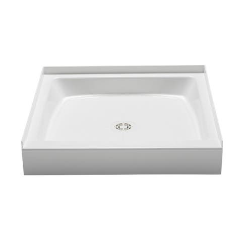 "PROFLO PFSB3636 Single Curb Rectangular Shower Pan (36"" X 36"") - For Alcove Installation - White"