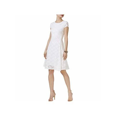 ALFANI Womens White Cap Sleeve Knee Length Fit + Flare Dress Size 8