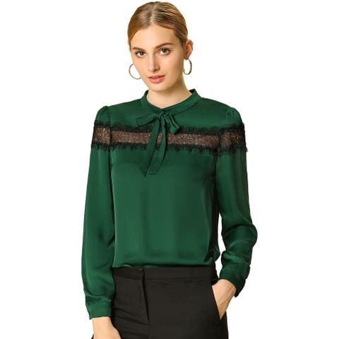 Women's Elegant Long Sleeve Tie Neck Shirt Lace Patchwork Blouse - Green