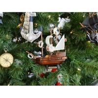 Wooden Santa Maria Model Ship Christmas Tree Ornament