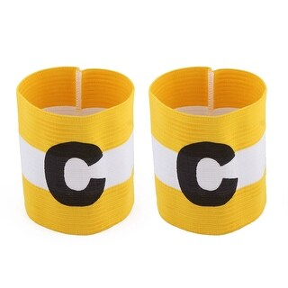 White Yellow Stripe Design Stretchy Sports Match Soccer Captain Armband 2 Pcs