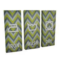 3 Piece Laundry Care Symbols Chevron Stripe Canvas Print Set