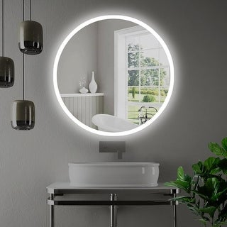"Miseno MM3636LED 36"" W x 36"" H Circular Frameless Wall Mounted Mirror with LED Lighting - N/A"