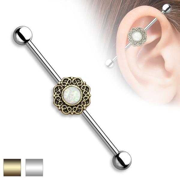 Opal Glitter Center Heart Filigree Surgical Steel Industrial Barbell - 14GA (Sold Ind.)