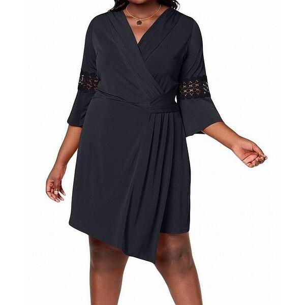 NY Collection Blue Women's Size 1X Plus Crochet Sleeve Wrap Dress