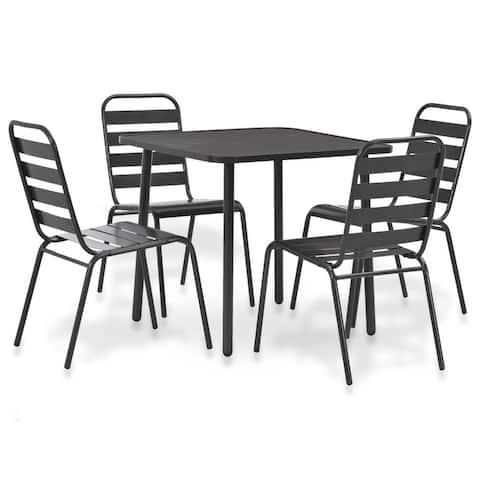 vidaXL Outdoor Dining Set 5 Pieces Steel Dark Grey Slatted Furniture Garden