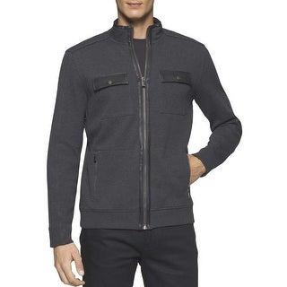 Calvin Klein Faux Leather Trim Full Zip Sweater Gunmetal Grey Heather Large L