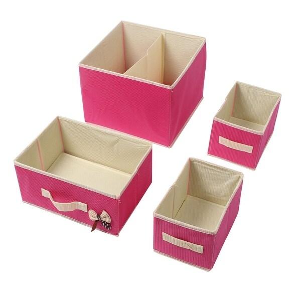 Non Woven Cloth 2 Layers 3 Drawers Bra Underwear Socks Storage Box Fuchsia  Set