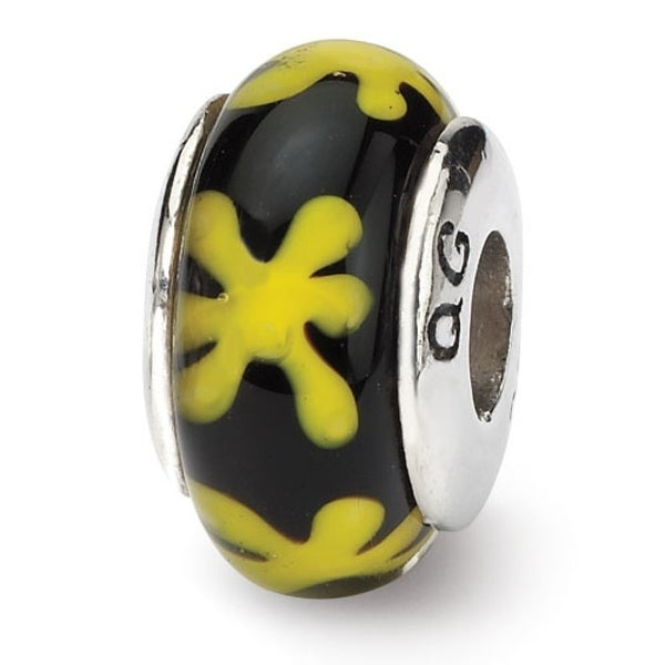 Sterling Silver Reflections Yellowith Black Hand-blown Glass Bead (4mm Diameter Hole)