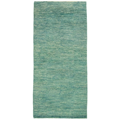 ECARPETGALLERY Hand-knotted Pak Finest Gabbeh Turquoise Wool Rug - 2'7 x 6'1