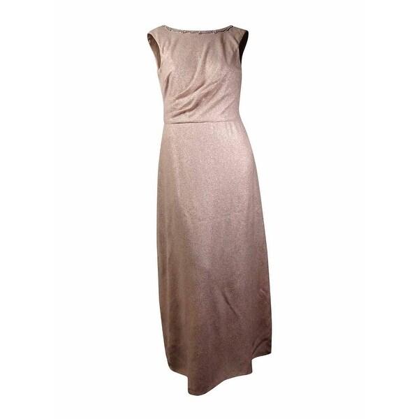Tahari Women\'s \'Kevin\' Cowl-Back Rhinestone Metallic Gown (4, Gold ...