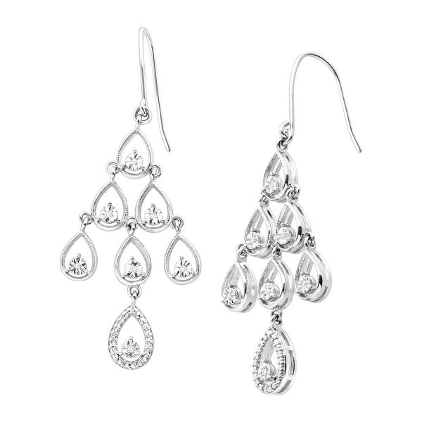 Chandelier Drop Earrings with Diamonds in Sterling Silver