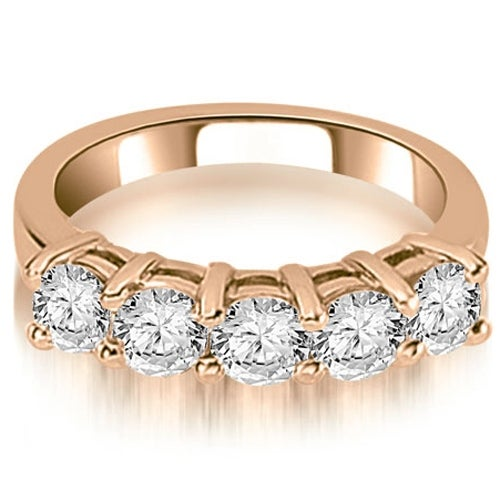 1.25 cttw. 14K Rose Gold Prong Set Round Cut Diamond Wedding Band
