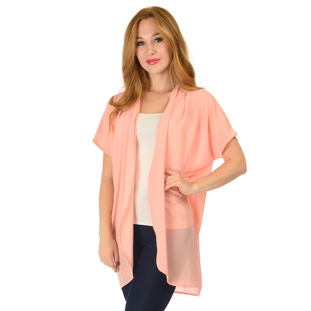 Simply Ravishing Mid-Length Chiffon Kimono Cardigan Swimwear Cover Up (Size: S-5X)