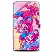 Marvel Comics 4 Retro Avenger Superhero Action Poses Marvel Comics Logo Hinge Wallet One Size - One Size Fits most