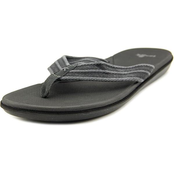 Sanuk Planer Webbing Men  Open Toe Canvas Black Flip Flop Sandal