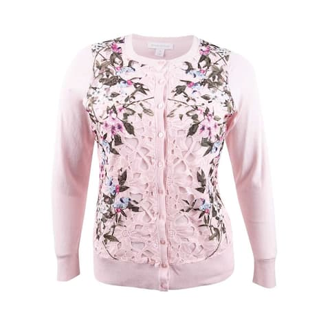 Charter Club Women's Plus Size Floral-Print Lace Cardigan - Misty Pink Combo