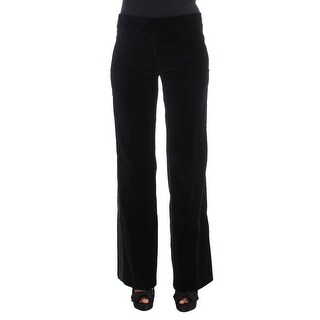 Ermanno Scervino Black Striped Velvet Viscose Bootcut Pants - it40-s