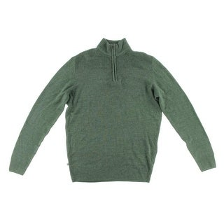 Geoffrey Beene Mens Knit Ribbed Trim Pullover Sweater