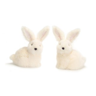"""Pack of 4 Soft Fuzzy White Sitting Bunny Rabbit Figures 8.5"""""""