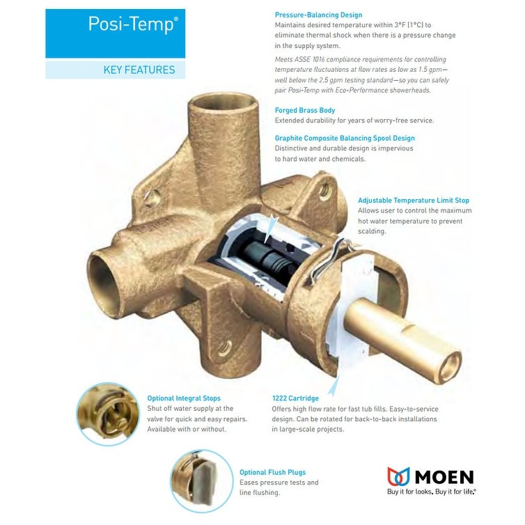 Moen T2153 Posi Temp Pressure Balanced Tub And Shower Trim With 2 5 Overstock 16318342