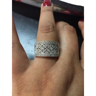 Sterling Silver 1/4ct TDW Diamond Floral Milgrain Ring