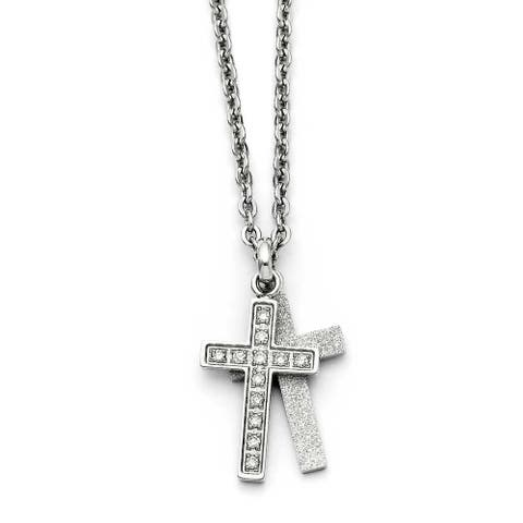 Chisel Stainless Steel Laser cut CZ Two Piece Cross Pendant Necklace (2 mm) - 20 in