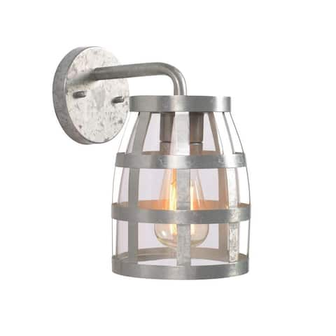 Oakside Rustic 1 Light Outdoor Lantern with Galvanized (hand painted) - N/A