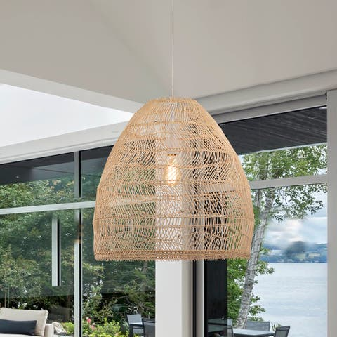 Luka Cream 1-Light Rattan Dome Basket Pendant Light