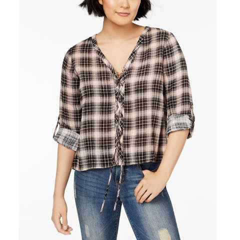 American Rag Juniors Plaid Lace Up Blouse Cameo Rose Size 2 Extra Small - Black - XX-Small