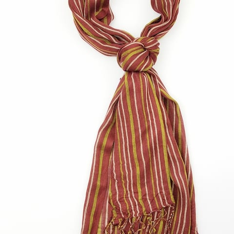 Women Multi Color Lightweight Stripes Oblong Scarf With Tassels Fall Winter School Warm College Fashion Scarves - 6