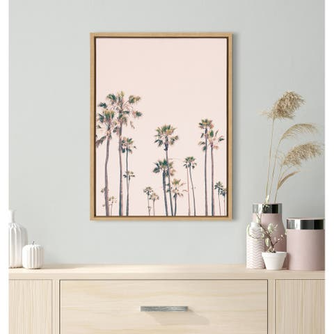 Kate and Laurel Sylvie Pink Palm Tree Paradise Framed Canvas by Caroline Mint