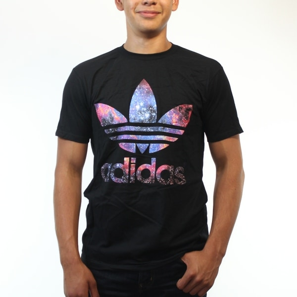 6451f2b27 Shop Adidas Originals Trefoil Galaxy Logo Men s Black T-Shirt - Free ...