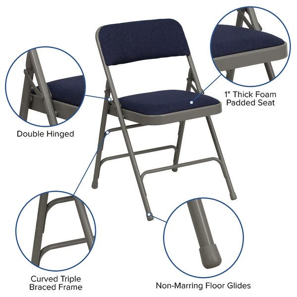 4 Pack Curved Triple Braced Double Hinged Metal Folding Chair On Sale Overstock 27066895