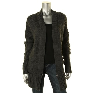 Aqua Womens Knit Open Stitch Cardigan Sweater