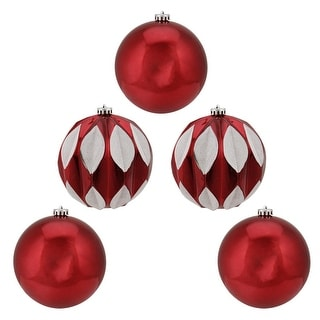 """5ct Shiny Red and White Leaf Glittered Shatterproof Ball Christmas Ornaments 6"""" (150mm)"""