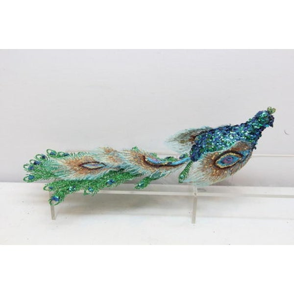 "14.25"" Regal Peacock Lavish Sequined and Glittered Clip-on Bird Christmas Ornament"