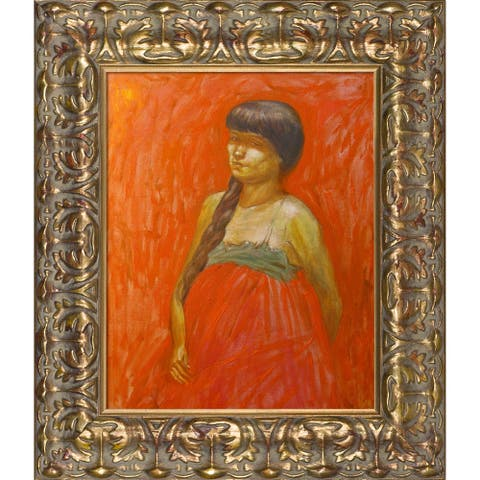 """ArtistBe Lady in Red Waiting with Golden Oak Leaf Frame, 12"""" x 14"""""""