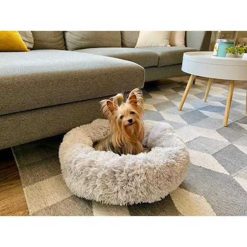 Soft Plush FauxFur Fluffy Round Donut Pet Bed for Dogs and Cats
