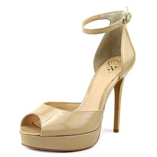 Vince Camuto Lillith 2 Women Peep-Toe Patent Leather Nude Heels