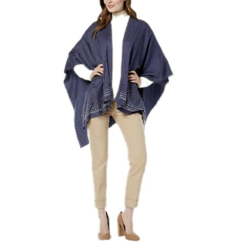 Charter Club Women's Super-Soft Embellished Poncho, Navy, One Size