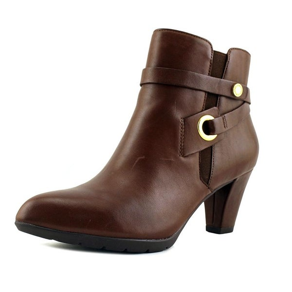 Anne Klein Chelsey Women Pointed Toe Leather Brown Ankle Boot