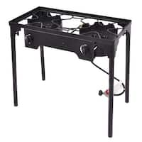 Costway Double Burner Gas Propane Cooker Outdoor Camping Picnic Stove Stand BBQ Grill - Black