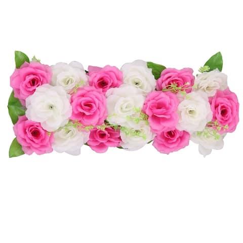 Wedding Party Fabric DIY Wall Arch Hanging Artificial Flower Garland Decor - Dark Pink,white