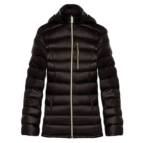 Michael Kors Womens Coffee Brown Down Hooded Packable Coat