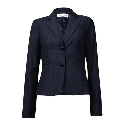 Calvin Klein Women's Notched Lapel Pocket Pinstripe Blazer