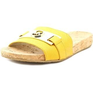 Michael Michael Kors Jan Open Toe Leather Slides Sandal